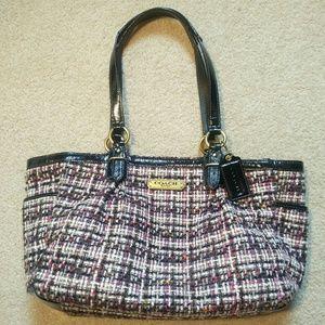 Coach Black Patent and Tweed Handbag
